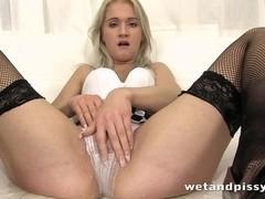 Sweet blonde girl ###ing her pants with pleasure