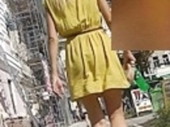 Blond upskirt movie scene with hawt panty