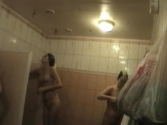 Hot swimmers strip and get on shower hidden camera