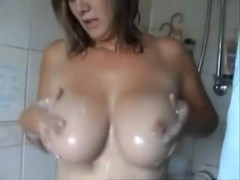 British mother i'd like to fuck soaps up her epic milk cans