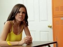 Hot brunette gives bj and gets banged