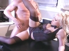 Breasty secretary fucking in nylons and a garter