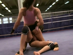 Larissa Dee fights with her friend and fingers pussy