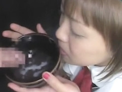 Adorable Japanese schoolgirls swallowing heavy loads of fresh semen