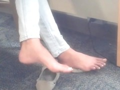 Candid Indian College Teen Feet at Library