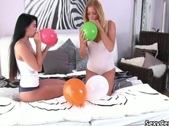 Lesbian teen sex after balloon play