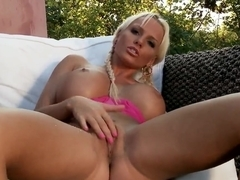 Jordan Pryce with her cool juggs plays with dildo