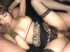 Exotic Japanese whore in Best Stockings, Threesome JAV clip