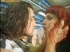 Red hair girl getting fucked by three guys