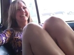 Ariana stripping in the car