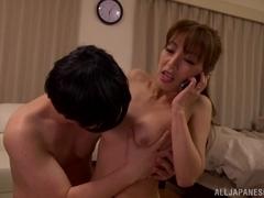 Ryo Hitomi naughty Asian babe gives a hot handjob