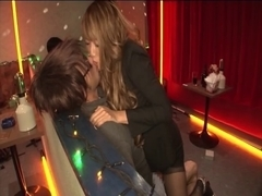 Oriental cum in face hole at the club