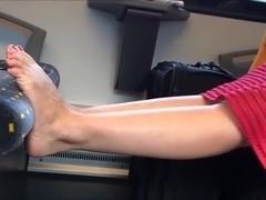Candid feet on train 15