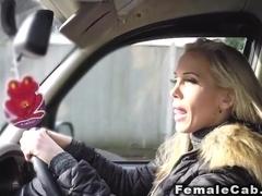 Busty female fake taxi driver fucks