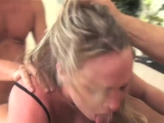 Naughty blonde Harmony Rose fucking in black stockings with two guys!