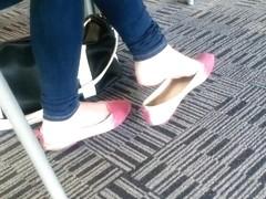 Candid Asian Teen Shoeplay Feet Dangling Pink Flats Part 2