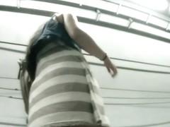 Sexy amateur brunette upskirt video