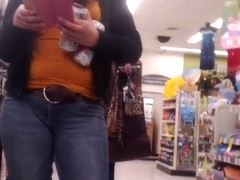 cute girl in line at Walgreens