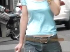 Slim Asian chick gets boob sharking on the street.