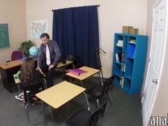 Naughty student anal pounded by her teacher in the classroom