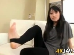 Japanese MILF Giving A Footjob