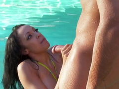 Breanna's round breasts bouncing by the pool