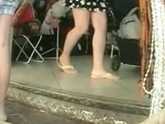 Nasty milf in short dress upskirt