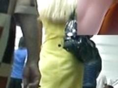 Chic golden-haired bimbo in fresh upskirt episode