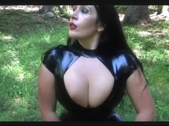 Dirty Black Red Latex Slut - Outdoor Blowjob Handjob - Fuck my Tits - Cum between my Tits
