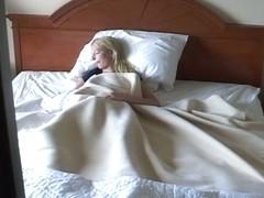 Hidden bedroom blonde masturbating