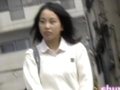 College girl with a bag on her shoulder got shuri sharked