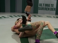 Brutal back & forth match between 2 undefeated wrestlersCrushing leg scissors & submission holds