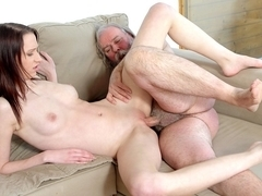 Nasty girl lets old man fuck her when boyfriend leaves - OldGoesYoung