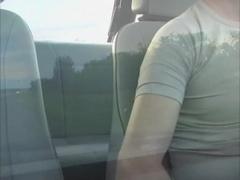 Cutie masturbates in a taxi