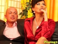 European piss###ing threeway with glam milf