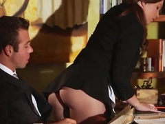 Gorgeous redhead Maddy teases and fucks her boss on his office desk
