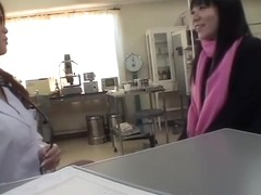 Awesome Japanese dildoed by her female doc during Gyno exam