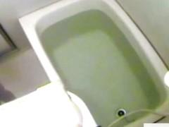 Slim Asian caught on bath hidden camera farting in the tub