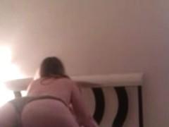 big arse wife fucks me in her panties on hidden cam
