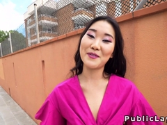 Small tits Asian bangs stranger in public