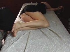 Masked dude sniffs the ass and feet of a gal