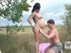 Sexy pregnant babe fucked outdoor