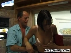 Amateur girlfriend threesome in a camping-car