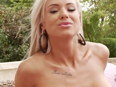 Hot and very sexy blonde Ashley Bulgari got some couch outdoors and pleasuring naughty masturbation on it.