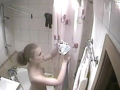 Blonde cute guest spied on cam in my shower room