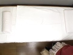 Perky tits Jap fingered hard in voyeur massage video