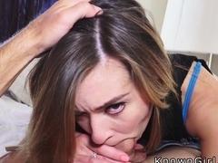 Slim girlfriend rides huge cock pov