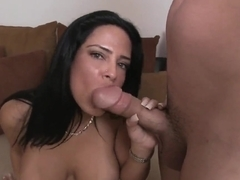 So sexy and handsome brunette chick Brenda Fox got down on her knees and giving great blowjob to her boyfriend.