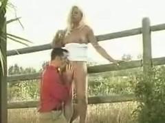 Dirty Blonde Shemale Slut Banged Hard