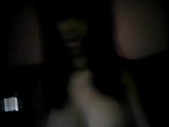 Delicious ebony babe flaunts her big tits on webcam